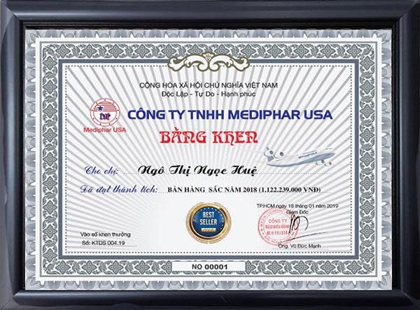 Mediphar USA trao tặng bằng khen Nhà bán hàng xuất sắc năm 2018