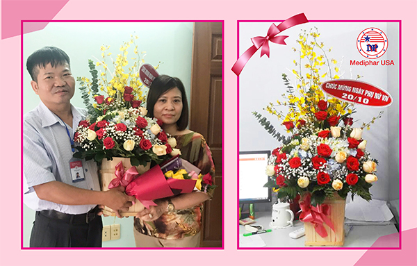 Ban Giám đốc công ty: Ông Vũ Đức Mạnh và bà Trần Thanh Tâm có mặt tại buổi tiệc