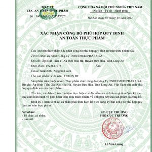 giấy chứng nhận an toàn thực phẩm