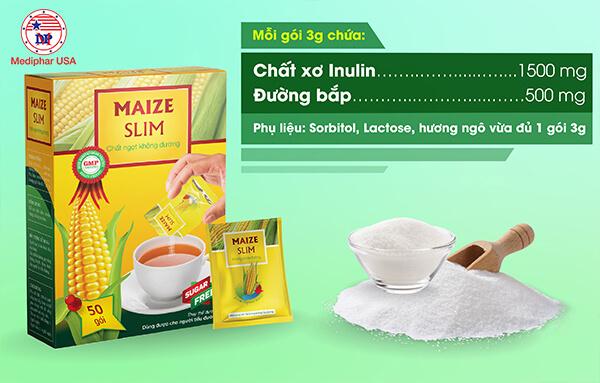 3 gram đường bắp Maize Slim = 15 gram đường kính