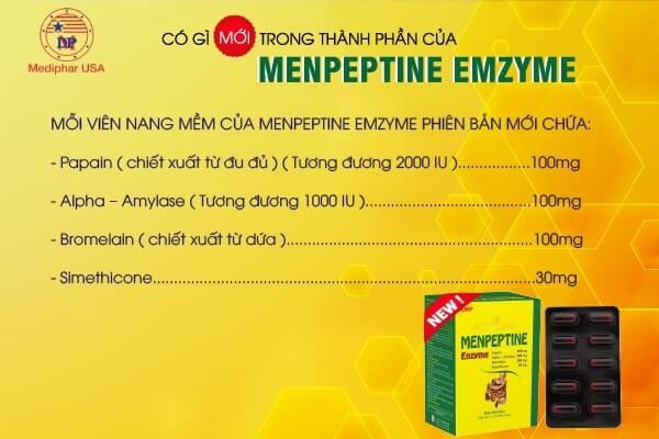công dụng thành phần menpeptine enzyme